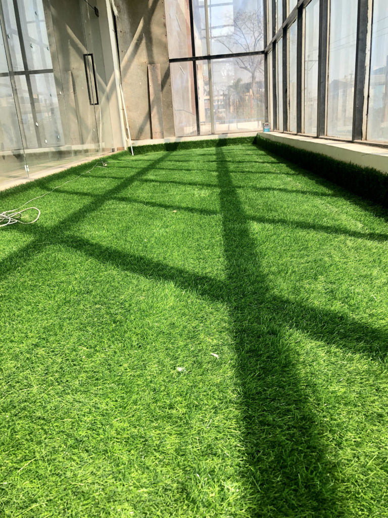 ARTIFICIAL LAWN GRASS INSTALLED AT NOIDA OFFICE BALCONY